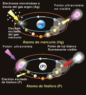 Representación esquemática de la forma en que el átomo de mercurio (Hg) emite fotones de luz. utravioleta, invisibles para el ojo humano y como el átomo de fósforo  (P)  los  convierte  en  fotones  de. luz blanca visible, tal como ocurre en el interior del tubo de una lámpara fluorescente.