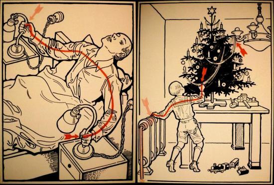 Electrocutado con el velador y con el arbolito de navidad.
