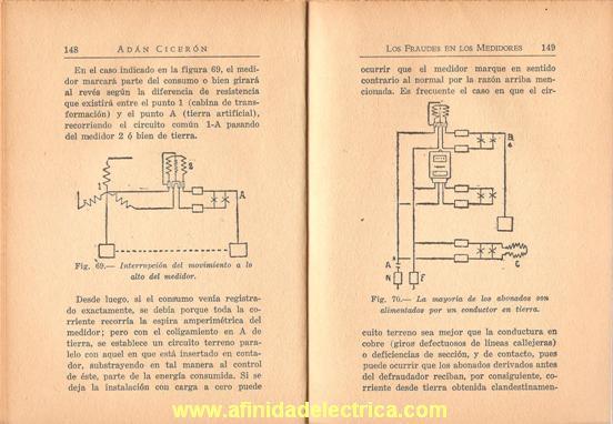 Antiguo libro sobre fraudes en medidores eléctricos.