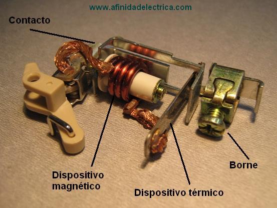 Ambos dispositivos se complementan en su acción de protección, el magnético para los cortocircuitos y el térmico para las sobrecargas.