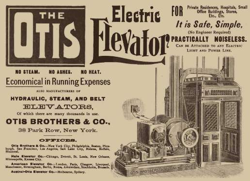 Recién en 1887 se incorpora el motor eléctrico en un ascensor cuando el inventor alemán Werner von Siemens coloca un motor eléctrico en la parte inferior de una cabina de ascensor.