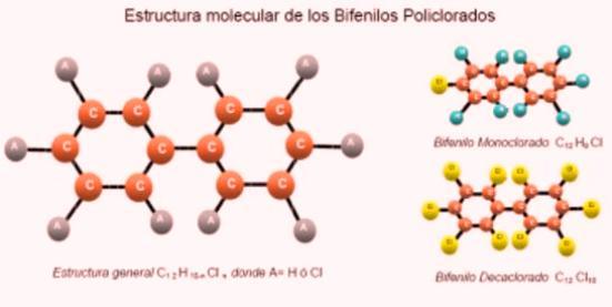 Son mezclas de hasta 209 compuestos clorados individuales (conocidos como congéneres). En el gráfico se observan las distintas posiciones que pueden adoptar los átomos de cloro sobre la molécula constituida por anillos bencénicos, identificadas con números.