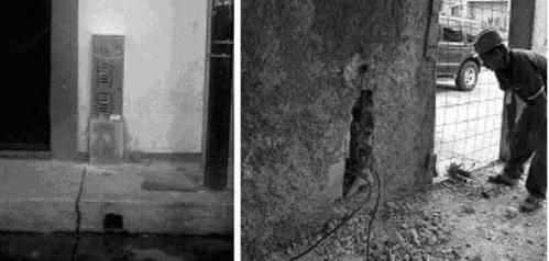 Figura 1: Conexión ilegal encontrada en la pared interna de una vivienda justo detrás del pedestal donde se ubica el medidor.