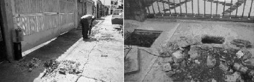 Fig. 5. Comparación de la magnitud de dos casos reales donde se realizaron trabajos para descubrir la conexión ilegal, uno sin el empleo del equipo detector (imagen izquierda), y el otro con uso del equipo (imagen derecha).