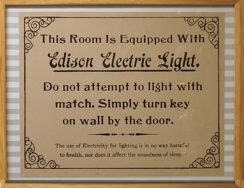 Esta habitación está equipada con LUZ ELÉCTRICA EDISON