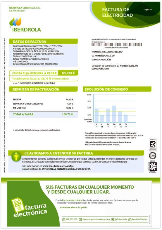 Factura de Iberdrola (España)