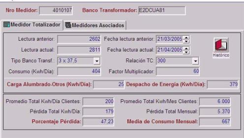 Fig. 7. Cálculo de Pérdidas de un Grupo de Transformadores mediante el Uso del Módulo de Totalizadores.