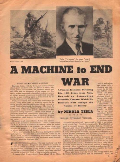"""Cuando ya tenía 84 años, el 22 de septiembre de 1940, el New York Times publicó un artículo sensacionalista donde le atribuía haber inventado una """"telefuerza"""" que protegería a los Estados Unidos para siempre."""