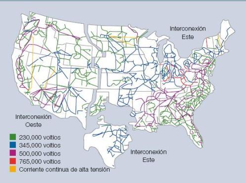 Figura 3 - Red de transmisión en Estados Unidos (fuente: Departamento de Energía Estadounidense)