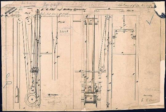 La patente del ascensor de Elisha Graves Otis presentada el  15 de enero de 1861