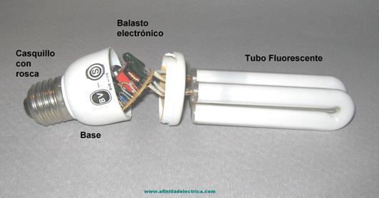 Al desmantelar nuestra lámpara de bajo consumo encontramos estos componentes.
