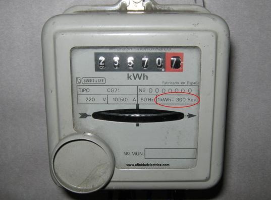 El medidor utilizado en este ejemplo es un Landis & Gyr tipo CG71 de fabricación española y su constante es 300 rev/kWh.