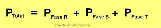 Y si se trata de un medidor trifásico, la potencia total será la suma de las potencias de las tres fases: