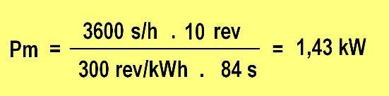 Por lo que la potencia Pm se calculará como:
