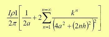 Asimismo, la corriente que sale en D a una distancia 2a de B, refleja un potencial en B como se muestra a continuación.
