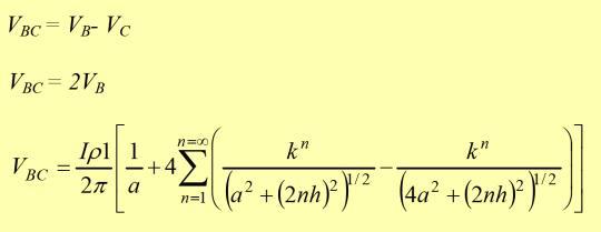 Por simetría el VC = - VB, entonces se puede deducir que: