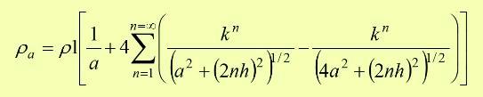 Si se verifica que la separación entre los electrodos mediante el método de Wenner es mucho mayor que la profundidad de los mismos, se cumple la (2) y la expresión anterior se puede representar de la siguiente manera.