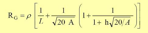 La aproximación de Sverak's para la determinación de la resistencia de la malla de tierra de una subestación (recomendada por la IEEE) y la ecuación a utilizar es entonces la que sigue a continuación.