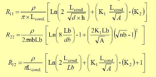 De la ecuación anterior se tiene que cada uno de los parámetros involucrados se calculan de la siguiente manera: