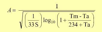 El conductor de cobre adecuado para la malla de tierra, puede ser obtenido de la siguiente ecuación desarrollada por Onderdonk y recomendada por la IEEE en su publicación Std. 80 de 1986: