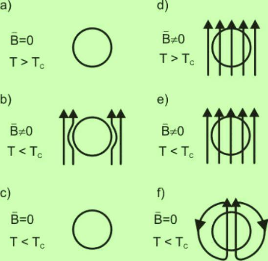 Penetración del campo magnético B, en el interior de un material considerado solamente como conductor perfecto (es decir que sólo presenta resistencia eléctrica igual a cero, pero no el efecto Meissner), al pasar por la temperatura de transición.