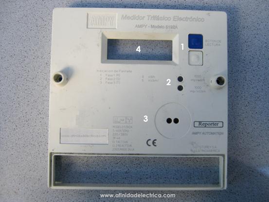 En la siguiente figura se observa el panel frontal del medidor de ambos lados y los elementos principales del mismo: