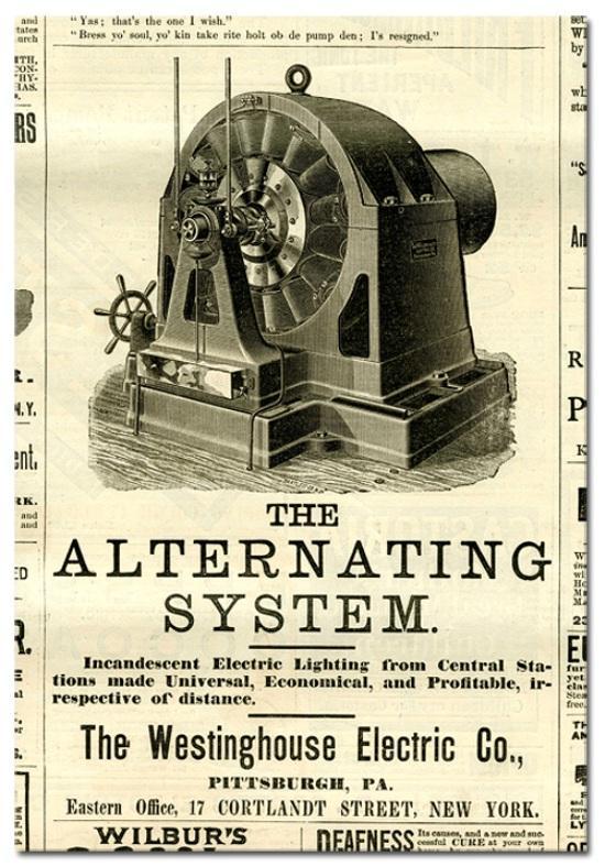 En 1891, los ingenieros de la empresa Westinghouse, en Pittsburgh, se pusieron de acuerdo y tomaron la decisión final de considerar a los 60 Hz como la frecuencia del futuro, y durante ese mismo año, los ingenieros de Allgemeine Elektrizitats Gesellschaft (AEG) en Berlín seleccionaron los 50 Hz.