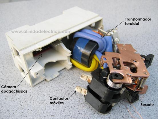 Al retirar el mecanismo de disparo quedan expuestos la cámara apagachispas, el transformador toroidal y los contactos móviles con el resorte que los acciona: