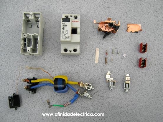 En la imagen siguiente observamos todas las partes que componen el interruptor diferencial estudiado.