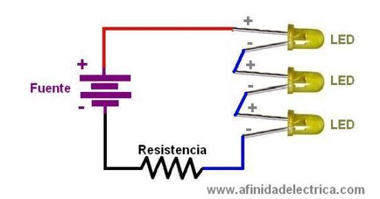 En la siguiente figura se muestra un conexionado serie de tres LEDs: