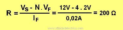 Por lo que será necesaria una resistencia de 200 Ω. Este valor se encuentra normalizado para resistencias de tolerancia de 5%.