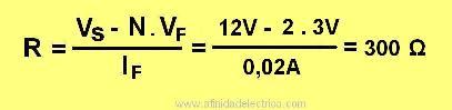 Arrojando un valor de 300 Ω. En este caso optamos por una resistencia de 330 Ω x ¼ W.