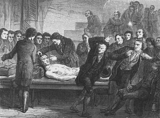 En ese momento, todo el cuerpo empezó a convulsionarse, y como recogieron los diarios de la época, muchos espectadores creyeron que el cuerpo había vuelto a la vida.