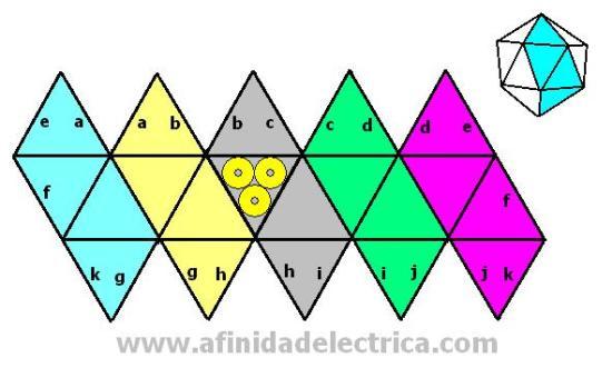 Este es uno de los Sólidos Platónicos y está compuesto por veinte caras triangulares.