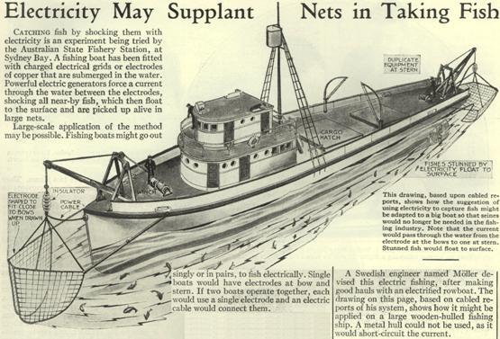 Un barco pesquero fue equipado con mallas eléctricas cargadas o electrodos de cobre que se sumergen en el agua.