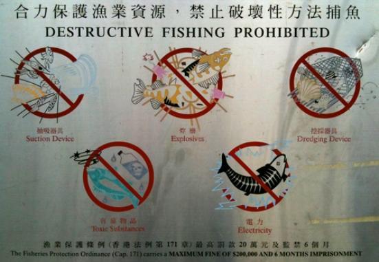 En la siguiente imagen se observa un cartel de prohibición de métodos de pesca destructiva fotografiado en el Quaint Fishing Village de Hong Kong.