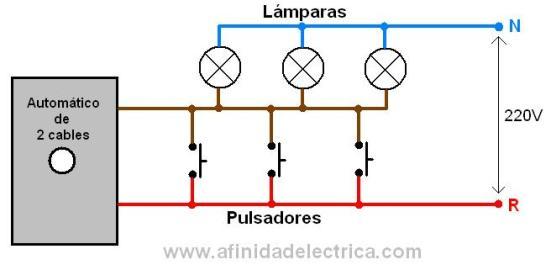 Los automáticos de dos hilos se conectan según el siguiente circuito.