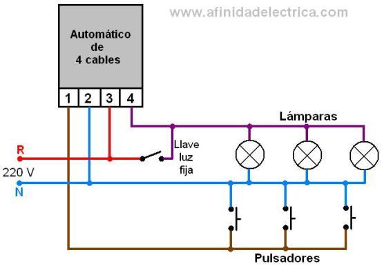 """A fin de contar con la posibilidad de mantener las luces encendidas sin temporizar y si el dispositivo no cuenta con esta función, puede agregarse al circuito una llave de un punto que al estar cerrada activa las luces """"fijas""""."""