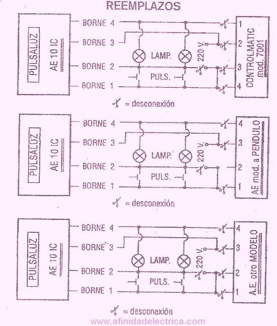 Para el reemplazo de dispositivos de distintas características se deben estudiar los esquemas de conexionado de ambos equipos. Algunos fabricantes proveen circuitos de reemplazo como los siguientes: