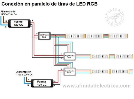 Conexión en paralelo de tiras de LEDs RGB