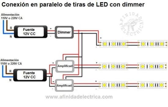 Conexión en paralelo de tiras de LEDs monocolor con dimmer.