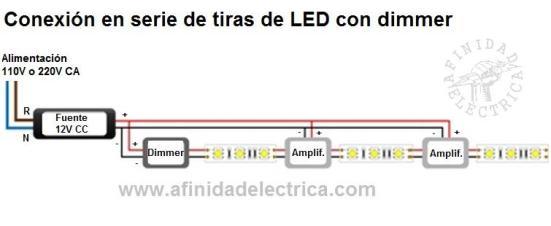 Conexión serie de tiras de LEDs monocolor con dimmer.