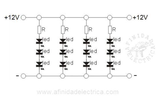 En el circuito interno de las tiras de LEDs monocolor encontramos sucesiones de grupos o arreglos de tres LEDs y una resistencia conectados en serie.