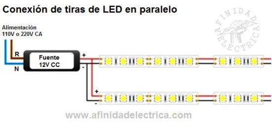 Conexión en paralelo de tiras de LEDs monocolor