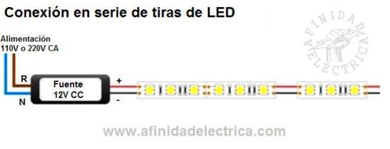 Conexión serie de tiras de LEDs monocolor