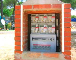 Medidores eléctricos AMR para ahorrar energía en un camping.