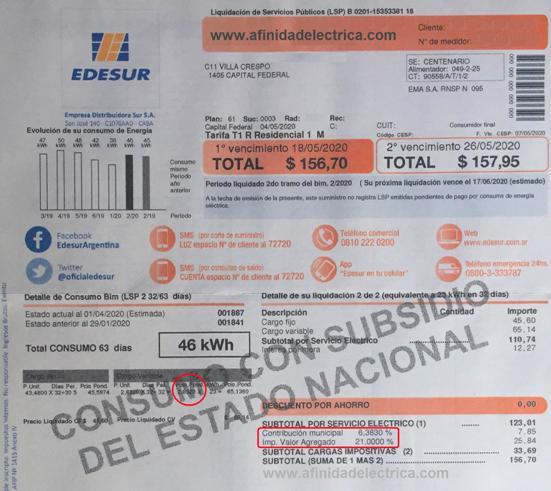 Si a este valor del kilowatt hora le sumamos impuestos (21% de IVA y 6,383% de contribución municipal) como indica la siguiente factura: