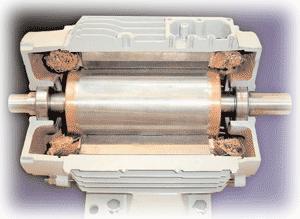 Un rotor de jaula de ardilla generalmente consiste en un cilindro de acero con conductores de aluminio o cobre incrustados en su superficie.