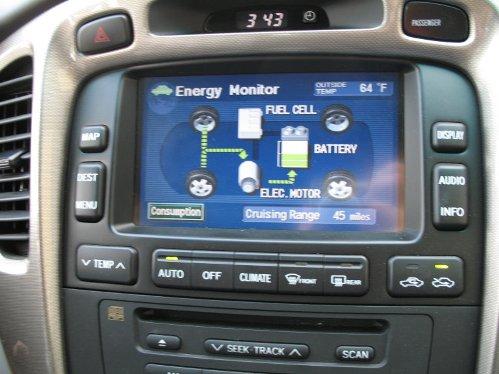 Panel de control de un automovil equipado con fuel cell.