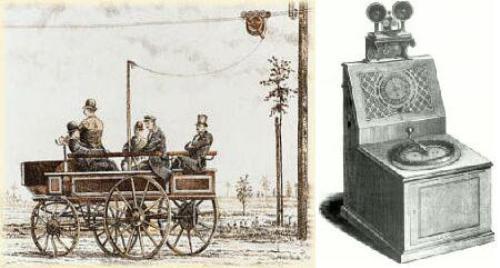 El Trolleybus (izquierda) y el telégrafo con puntero/teclado (derecha)